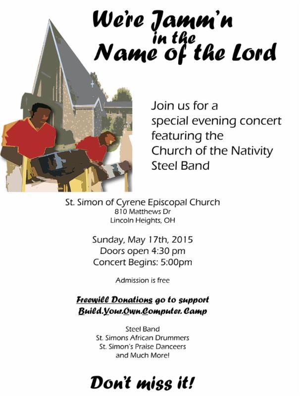 St Simon steel drum flyer