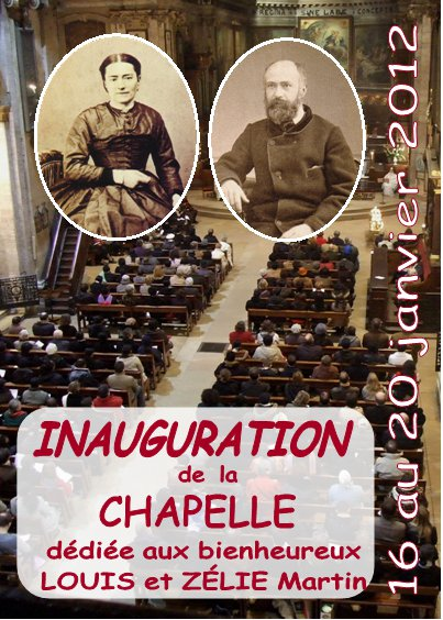 Poster for dedication of chapel to Blessed Louis and Zelie Martin in Paris