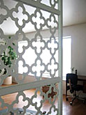 Metal screen with a quatrefoil  pattern