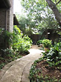 Exposed-aggregate concrete path
