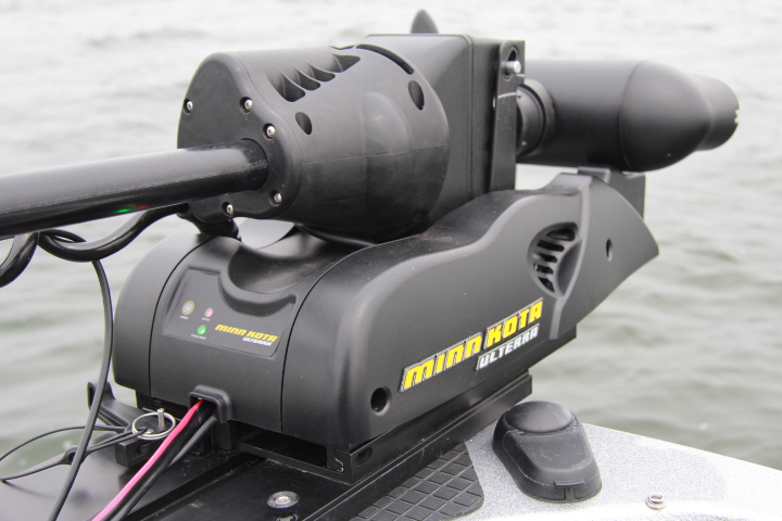 Minn kota 39 s ulterra deploys stows and trims up or down for Spot lock trolling motors