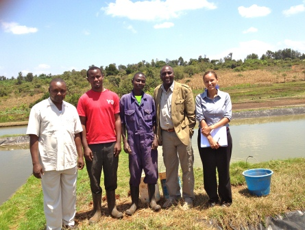 Touring a privately-owned tilapia and catfish farm on the slopes of Mt. Kenya