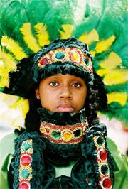 Mardi Gras Indian in headdress