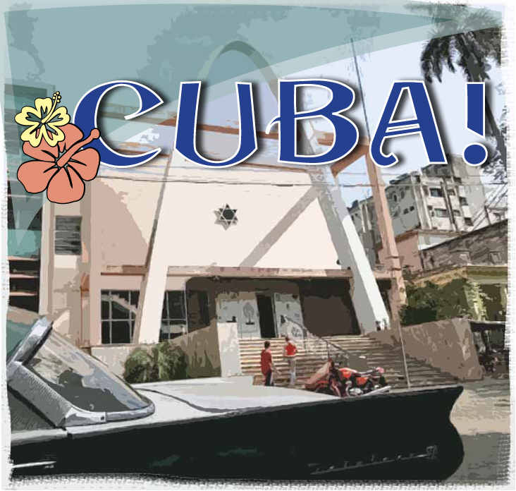 Cuba synagogue with car