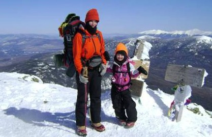 Patricia Herr and daughter on summit of Mt. Lafayette