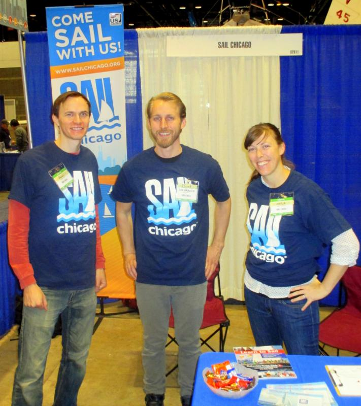 David Merrill, Stuart Jessup, and Maria Frank ready for visitors at the Sail Chicago booth, 2016 Strictly Sail Chicago Show