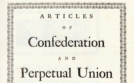Chapin Library's Articles of Confederation, 1777 (detail)