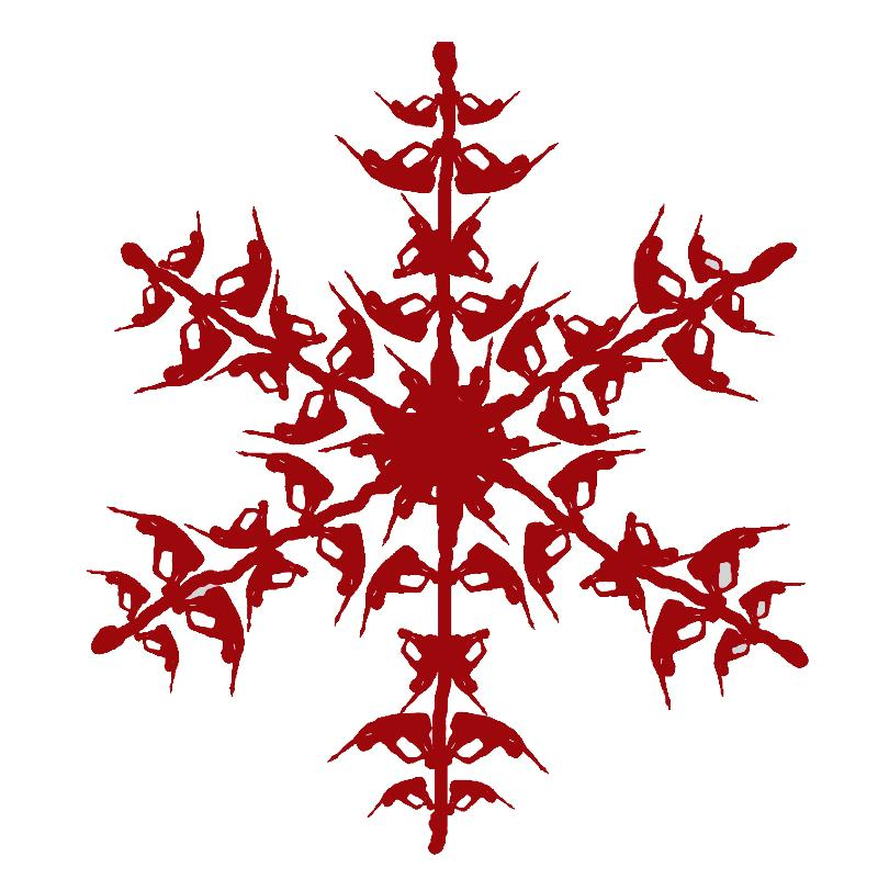 ... : Blue Snowflake , Red Snowflake Border , Red Snowflake Clipart