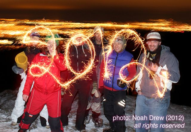 2012 written with sparklers