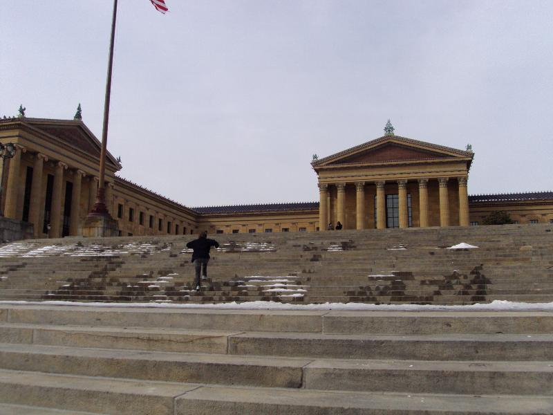 Jan running up the Rocky Steps