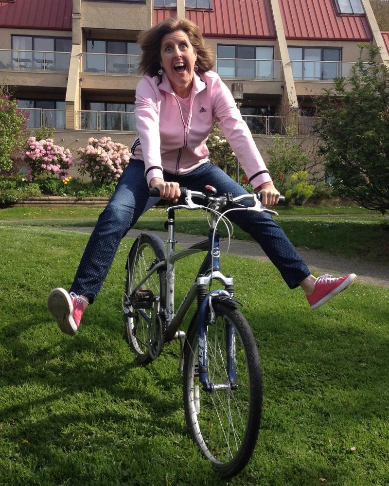 Jan being crazy on her bike.jpg