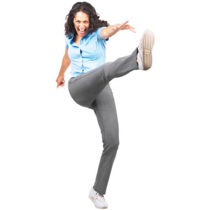 woman kicking with joy