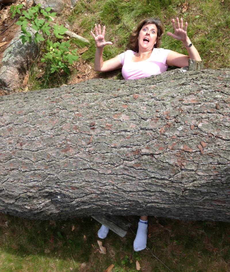 Jan pinned under pine tree