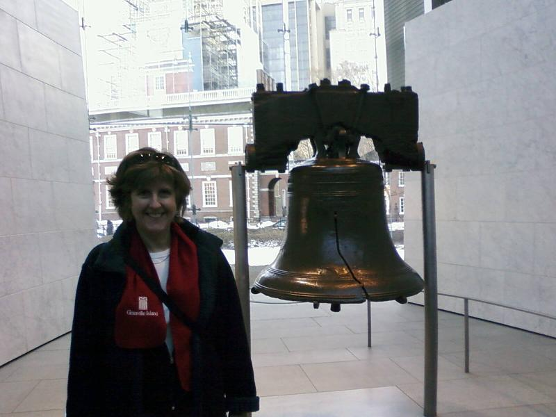 Jan with the Liberty Bell