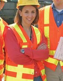 Sara Schmitt on construction site