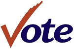 The word vote with a checkmark used for the V
