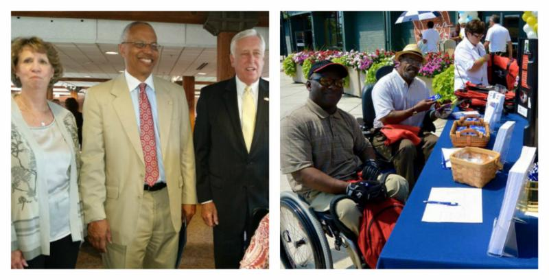 Left to right_  Secretary Beatty_ Lt. Gov. Rutherford_ Congressman Hoyer and two men in wheelchairs exploring the outdoor booths