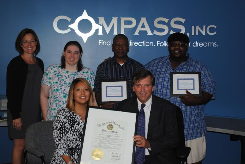Direct Support providers, agency personnel, and Deputy Secretary Frank pictured during DSP week 2015 with Governor's Proclamation