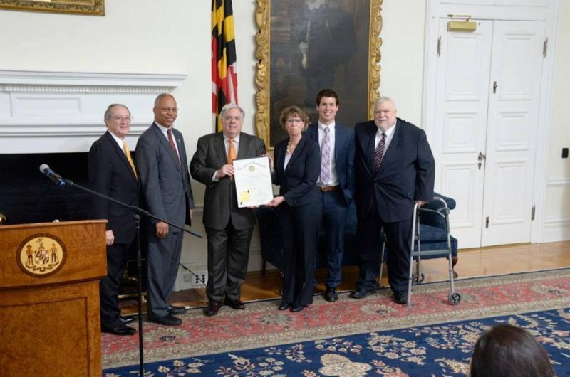Secretary Beatty pictured following appointment to Governor Hogan_s Cabinet with Governor Hoga_ Lt. Governor Rutherford_ her son and husband