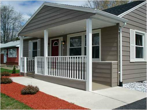 image of accessible home exterior with front porch and ramping