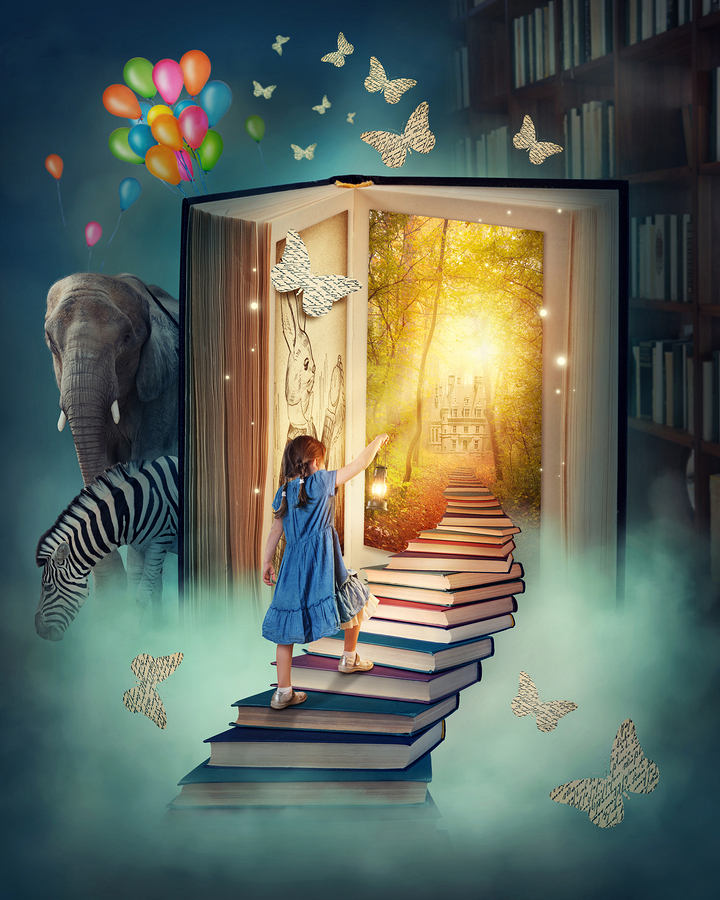 Little girl walking up stairs to the magic book land