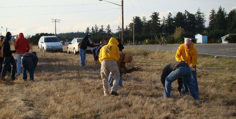 Navy volunteers planting hedgerow 11.5.11