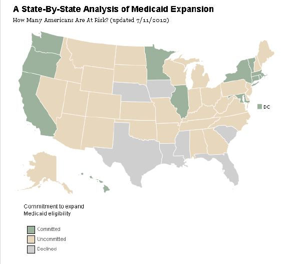 Medicaid Expansion by State (July 11, 2012)