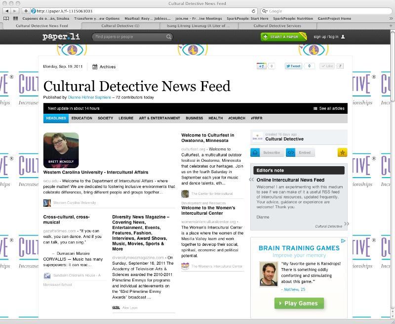 screen shot of CD news feed