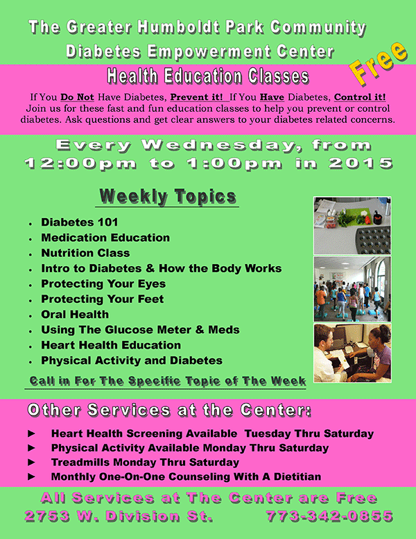 Health Education at the  Diabetes Empowerment Center Every Wednesday!