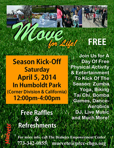 """This Saturday- 4th Annual Season Kick-off Event """"Move for Life"""" at Humboldt Park!"""
