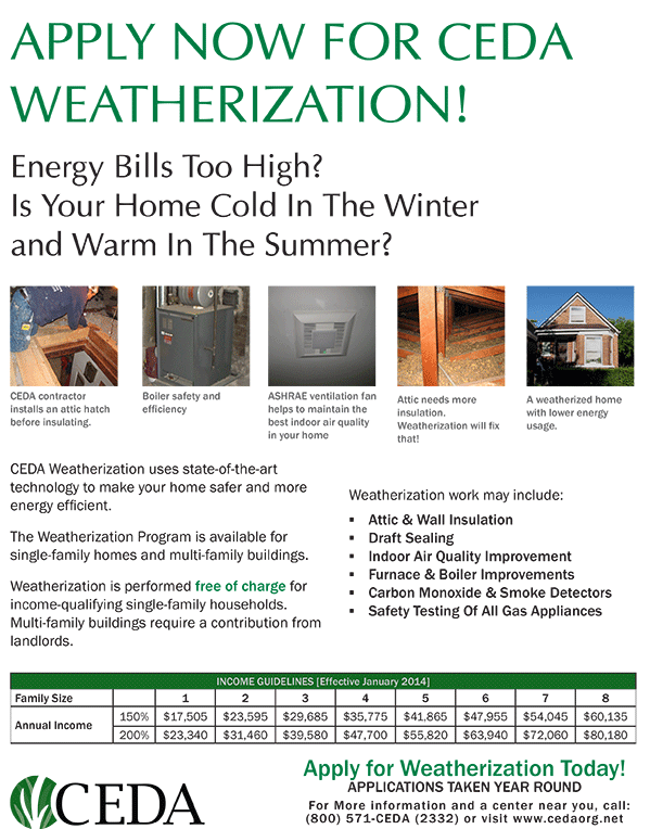 Apply for CEDA Weatherization