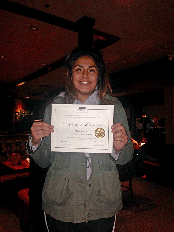 BACCA Mentor and HS Activist Earns Spot in  Chicago Metro HS Regional History Fair