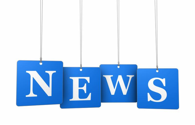 News bulletin broadcast and newsletter concept with news sign on blue tags for website and online business.