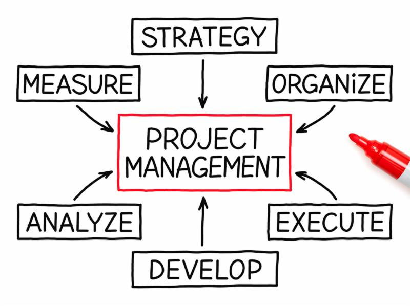 Project Management flow chart with red marker on white paper.