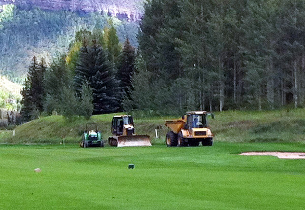Heavy Equipment on the 18th Green