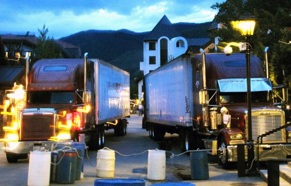 Semi-trucks on East Meadow Drive
