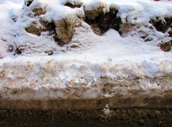 Snowplowed Roadway Edge