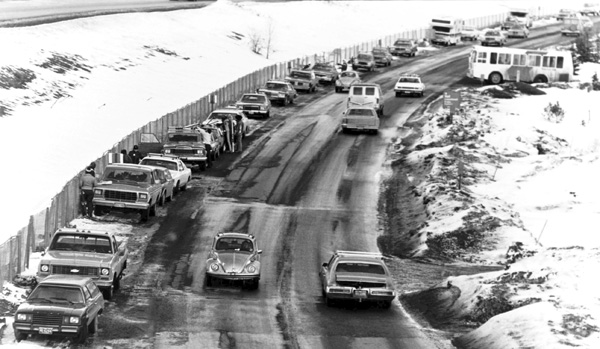 Cars parked on Frontage Road 1970
