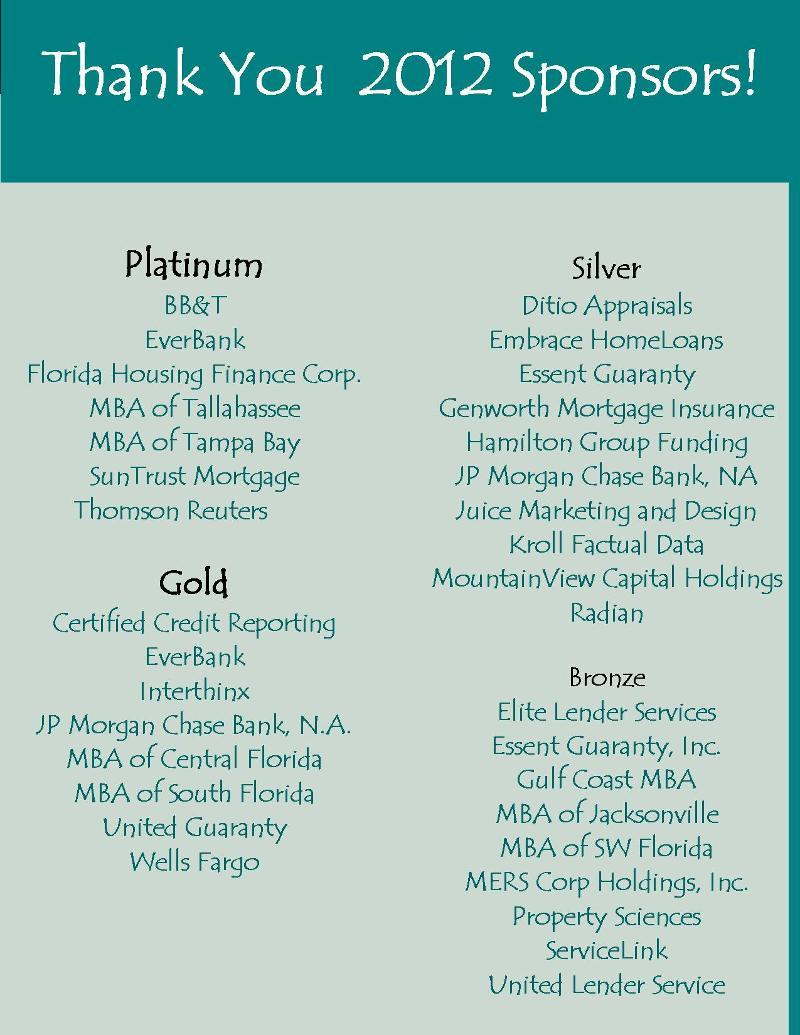2012 Sponsors List