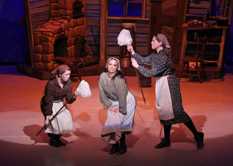 Alyson Foisy, Amanda Carpenito and Paige Crane (left to right) play Tevye's three daughters in Fiddler on the Roof at Theatre at the Mount.