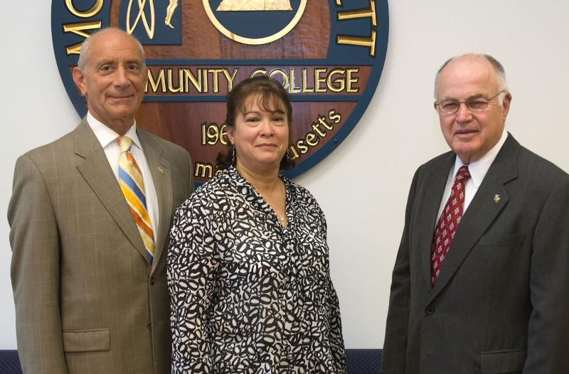 Trustee Migdalia Velez, with Jim Garrison and President Asquino