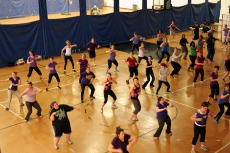Zumba for Hope participants working out in the fitness center