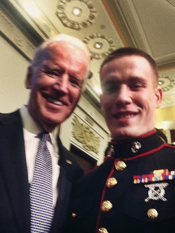 MWCC student Aaron Trudeau with VP Joe Biden