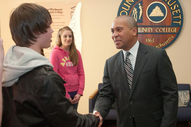 Governor Patrick greets students during a visit to MWCC