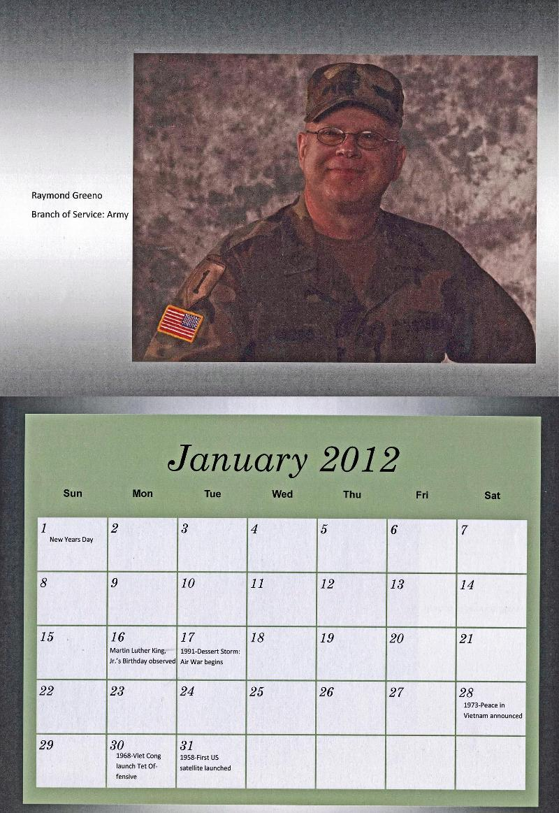 The month of January from the Center of Excellence for Veteran Student Success calendar featuring Raymond Greeno of the Army