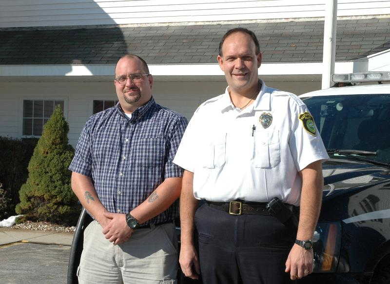 Intern Brian Laprise and Westminster Police Chief Salvatore Albert