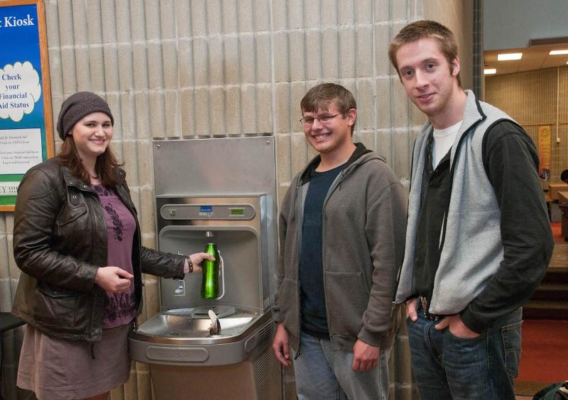 Members of the Green Society at new water cooler bottle filling station