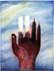 Drawn to New York - Twin Towers Hand