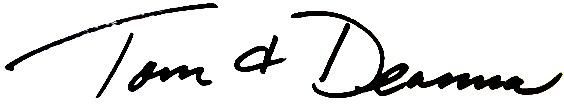Tom & Deanna signature