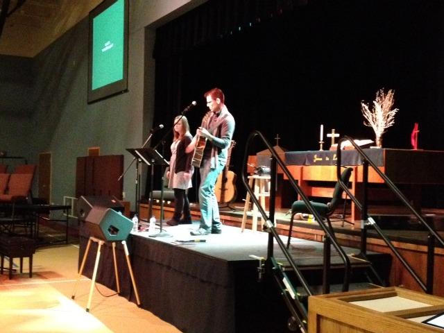 Adam leads worship